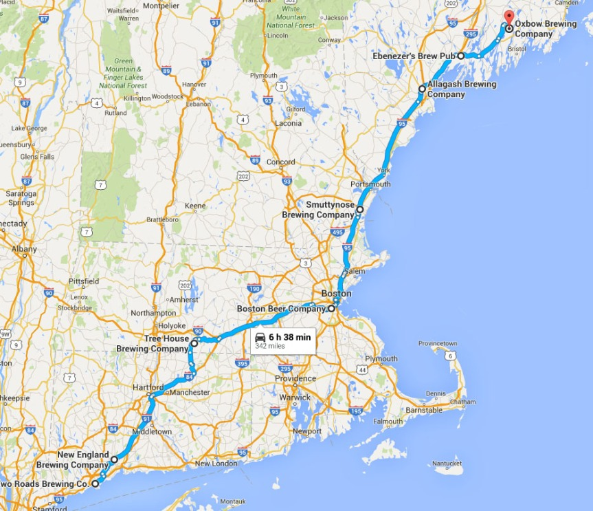 Maine Beer Trip Map